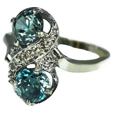 14k London Blue Topaz Ring White Gold with Diamond Accents c1950