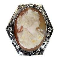 Art Deco Era Sterling Silver Cameo Brooch Goddess Ceres Filigree Flower Setting