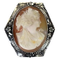 Art Deco Era Sterling Silver Cameo Brooch Goddess Ceres Filigree Flower Setting