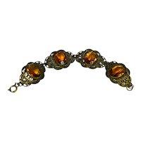 Art Deco Citrine Czech Glass Bracelet Ornate Floral Brass