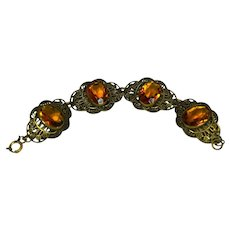 Art Deco Citrine Czech Glass Bracelet Ornate Floral Brass