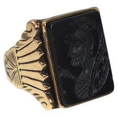 10k Gold Carved Onyx Roman Soldier Ring 1950s Men's