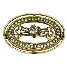 Antique 10k Diamond Seed Pearl Oval Collar Brooch Swift and Fisher c1915