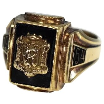1954 RFA 10k Gold Onxy Class Ring Rome Free Academy Gold Ring Initial R