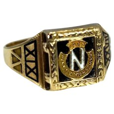 Art Deco 10k Newfield Class Ring Enamel and Gold Selden NY