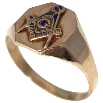 10k Gold Masonic Ring Otsby and Barton Signed