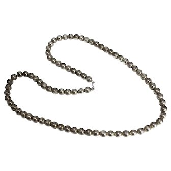 Sterling Silver Bead Necklace Long Length 31 Inch Vintage