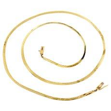 14k Gold Herringbone Necklace, 14k Gold Chain