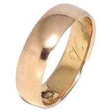 18k Rose Gold Wedding Band, Rose Gold Ring Sz 6
