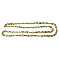 14k Gold Fancy Box Link Necklace 20.7g Diamond Cut Unisex