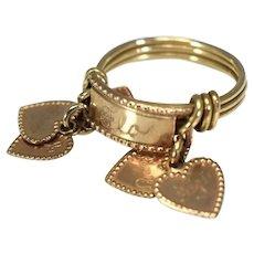 10k Rose Gold Heart Charm Ring