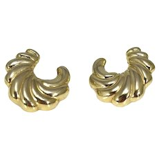14k Gold Shell Earrings Larger Studs Classic Style