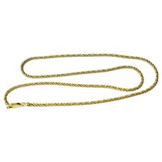 14k Gold Shimmering Rope Necklace 18 inch
