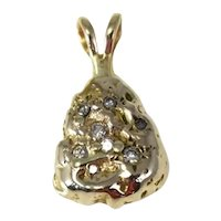 14k Gold Diamond Money Bag Pendant Unisex Solid Gold