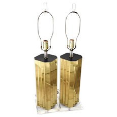 Vintage Mirrored Gold Lucite Table Lamps Pair High Style