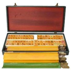 Vintage Bakelite Mahjong Mah Jongg Set 162 Tiles Carved