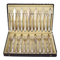 Antique Silver Fish Cutlery Set Service for 12 - V Mayers Sohne Austrian