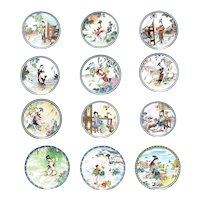 Imperial Jingdezhen Porcelain Plates X12 Geisha Girls Beauties of Red Mansion - Legends of West Lake - Goddesses