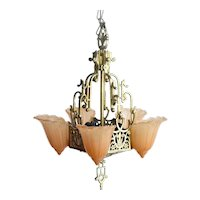 Art Deco Slip Shade Chandelier Completely Refurbished