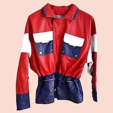 1980s Red White Blue Leather Jacket Cinched Waist Oversized