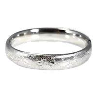 Sterling Silver Floral Engraved Hinged Bangle Bracelet Vintage Carl Art