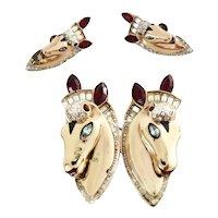 Coro Craft Horse Duette Dress Clip Silver Vermeil  1940s