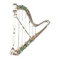 Sterling Silver Chrysoprase Harp Brooch c1920