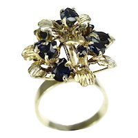 12k Sapphire Flower Cocktail Ring 1.14 ctw High Profile September Birthstone