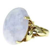 14k Gold Lavender Jade Jadeite Ring 24.24 ct Heavy Ornate Gold Setting