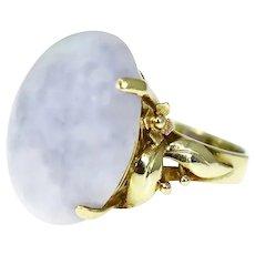 14k Gold Lavender Jade Jadeite Ring 24.24 ct Heavy Ornate Gold Setting
