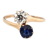 14k Rose Gold Diamond Sapphire Double Solitaire Engagement Ring Custom Design c1930