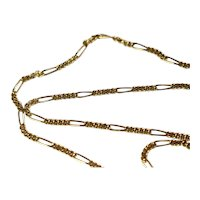 14k Gold Figaro Chain Necklace Italy 30 inch