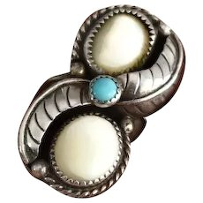 Sterling Silver Navajo MOP Turquoise Ring Elongated Leaf Setting