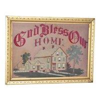 Antique Gilt Framed Embroidery God Bless Our Home Folk Art