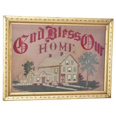 Antique Gilt Framed Embroidery God Bless Our Home Folk Art