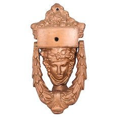 Neoclassical Style Iron Door Knocker Athena Art Deco Era Painted Bronze