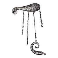 RARE Antique Sterling Silver Whale Roses Chatelaine with Ram Horn Whistle