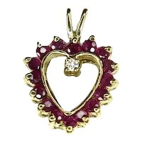 14k Gold Ruby Diamond Heart Pendant .