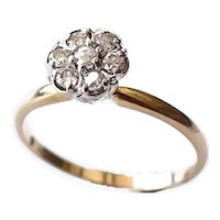 14k Gold Diamond Flower Ring Dainty High Mount .35 ctw