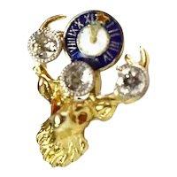 Vintage 14k Elks BPOE Diamonds Enamel Lapel Pin