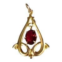 Antique 10k Gold Lavaliere Pendant with Simulated Ruby