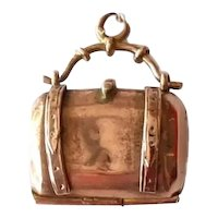Antique 10k Rose Gold Satchel Dr Bag Charm Opens and Closes
