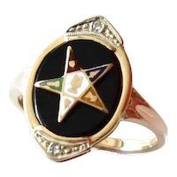 14k Gold Onyx Diamond Eastern Star Enamel Ring Vintage