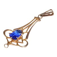 Antique 10k Gold Lavaliere Pendant with Simulate Sapphire