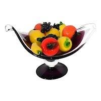 Vintage Art Glass Fruit  Ten Pieces Great for Center Piece