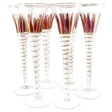 Divine Champagne Flutes Cranberry Flash and Heavy Gold Ribbon Trim X6 Austria