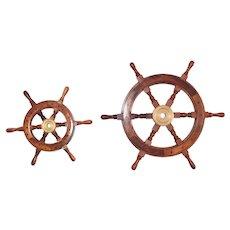 "Vintage Ships Wheels Great Nautical Wall Decor  25"" Brass Mahogany Teak"