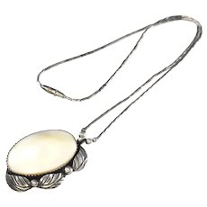 Navajo Sterling Silver Dave Scott MOP Necklace Stunning Bamboo Chain