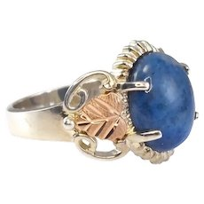 Coleman Co Black Hills Gold Silver 12k Rose Yellow Gold Leaf Ring Blue Stone Boho Style