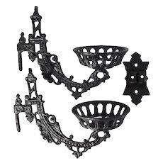 Victorian Cast Iron Oil Lamp Double Arm Holder Wall Bracket